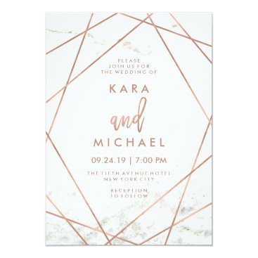 Customize_My_Wedding Marble and Faux Rose Gold Geometric Wedding Invite