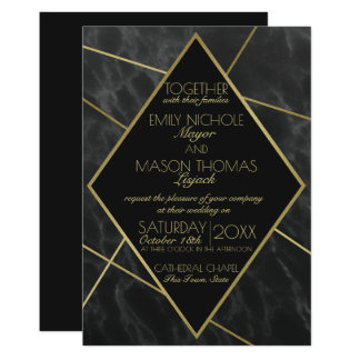 Marble and Gold Art Deco Geometric Slate Wedding Card