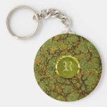 Marble And Gold-Custom Initial Basic Round Button Keychain
