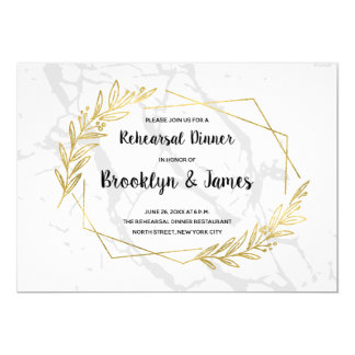 Marble And Gold Effect Wedding Rehearsal Invite