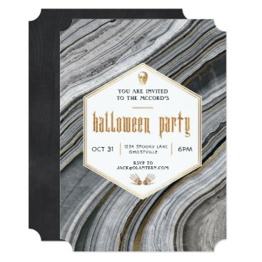 Halloween Themed Marble and Gold Halloween Party Invitation