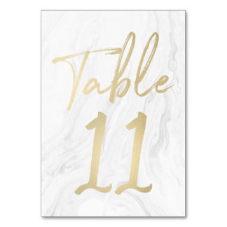 Marble and Gold Script   Table Number Card 11