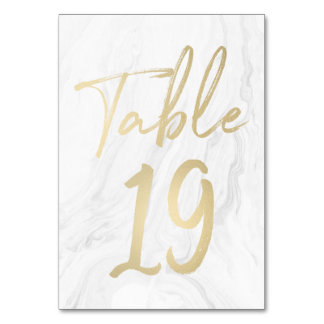 Marble and Gold Script | Table Number Card 19
