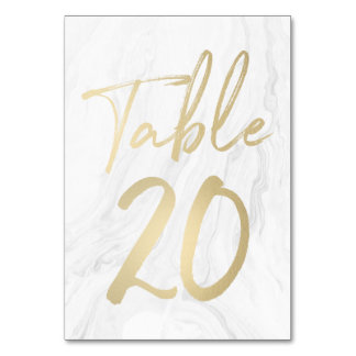 Marble and Gold Script | Table Number Card 20