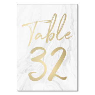 Marble and Gold Script | Table Number Card 32