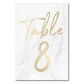 Marble and Gold Script | Table Number Card 8