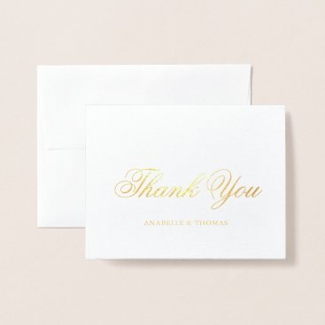 Beach Themed Marble and Gold Wedding Photo Thank You Foil Card