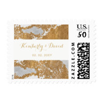 Marble and Gold Wedding postage