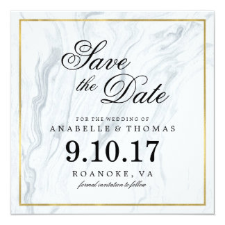 Marble and Gold Wedding Save the Date Card