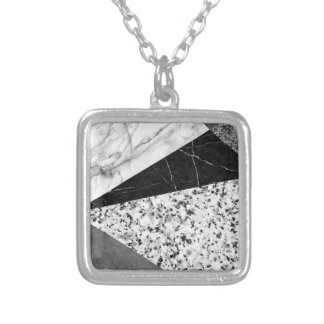 Marble and Granite Abstract Square Pendant Necklace