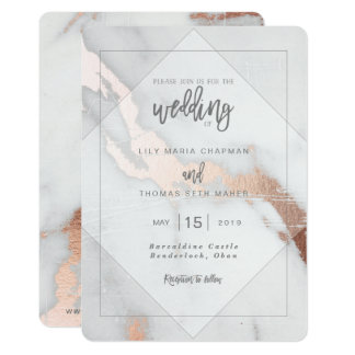 MARBLE AND ROSE GOLD EFFECT WEDDING INVITATION