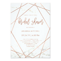 Marble and Rose Gold Geometric Bridal Shower Invitation