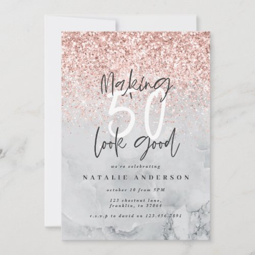 Marble and rose gold modern 50th birthday party