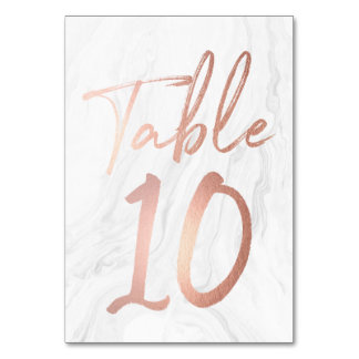 Marble and Rose Gold Script | Table Number Card 10
