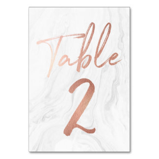 Marble and Rose Gold Script   Table Number Card 2