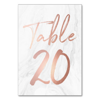 Marble and Rose Gold Script | Table Number Card 20