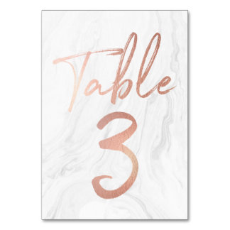 Marble and Rose Gold Script   Table Number Card 3