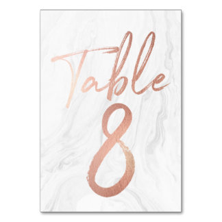 Marble and Rose Gold Script | Table Number Card 8