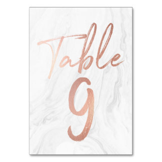 Marble and Rose Gold Script | Table Number Card 9