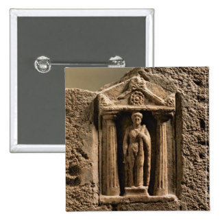 Marble and sandstone votive stele with female figu pinback button