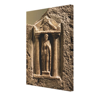Marble and sandstone votive stele with female figu canvas print