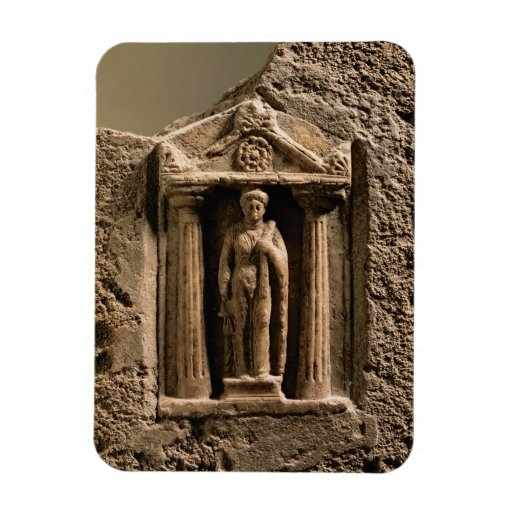 Marble and sandstone votive stele with female figu rectangle magnet