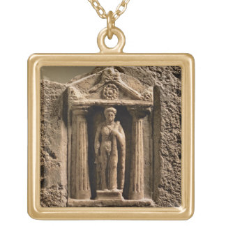 Marble and sandstone votive stele with female figu square pendant necklace