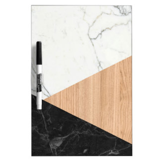 Marble and Wood Abstract Dry-Erase Board