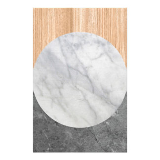 Marble and wood abstract stationery