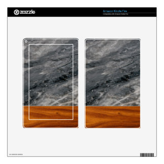 marble and wood kindle fire decal