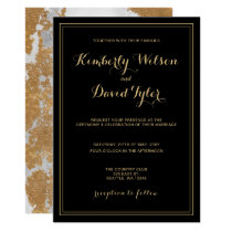 Marble Black and Gold Wedding Card