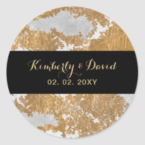 Marble Black and Gold Wedding Classic Round Sticker
