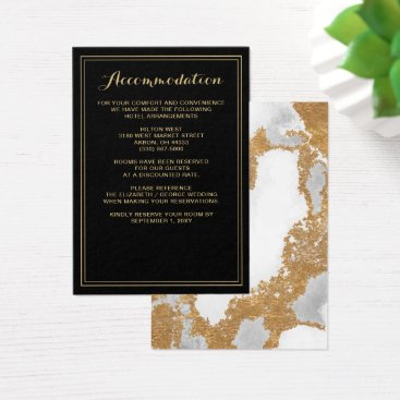 Marble Black and Gold Wedding details card