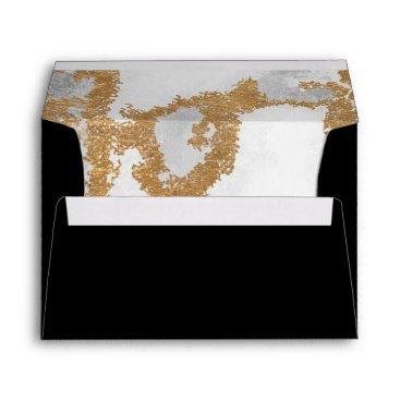 Marble Black and Gold Wedding Envelope