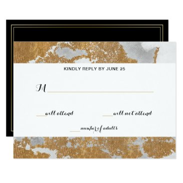 Marble Black and Gold Wedding rsvp Card