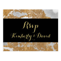 Marble Black and Gold Wedding rsvp Postcard