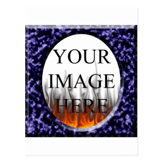Marble Blue Square Frame Template Postcard