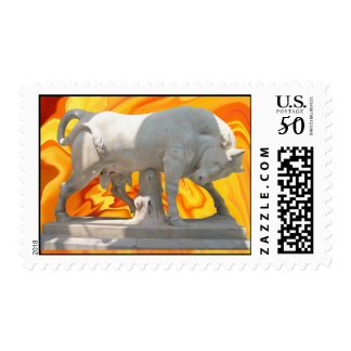 Marble bull  at a liquified background postage