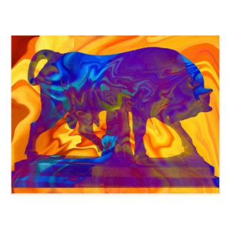 Marble Bull  at a psychedelic background postcard