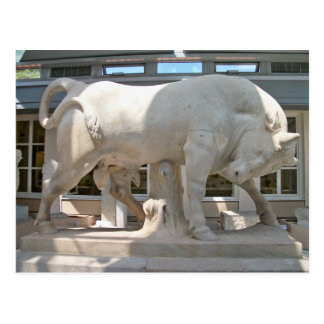 Marble Bull  on a high pedestal postcard
