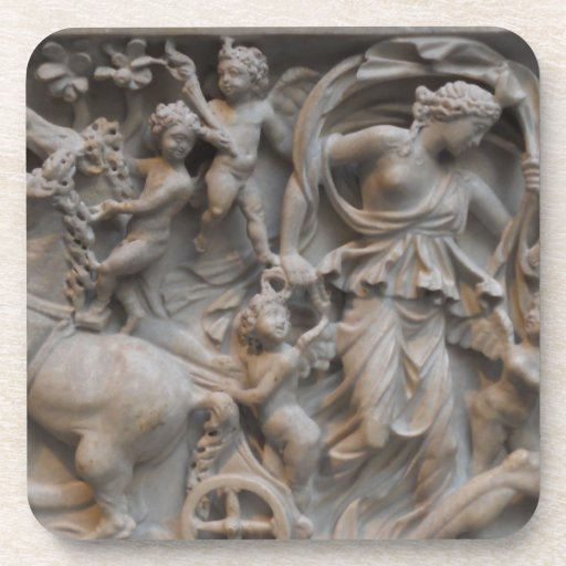 Marble Carving of Selene, the Moon Goddess Drink Coasters