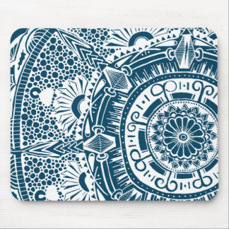 Marble circle mousemat with mandala pattern mouse pad