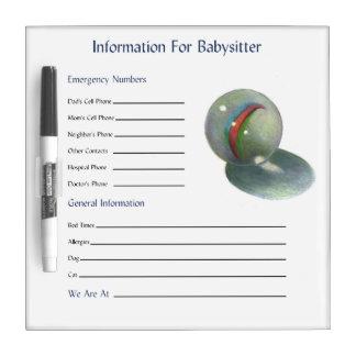 Marble Color Pencil: Babysitter Information Dry Erase Board