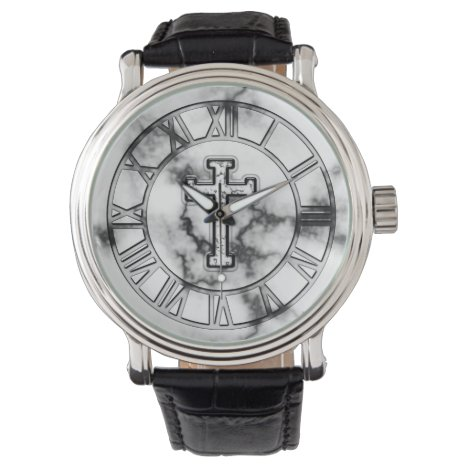 Marble Cross Wrist Watch