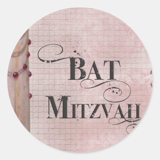 Marble design Bat Mitzvah Classic Round Sticker