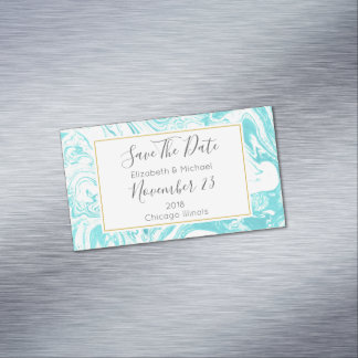 Marble Design in Turquoise Wedding Save The Date Magnetic Business Card