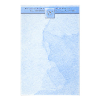 Marble Etched Monogram (Blue) Stationery