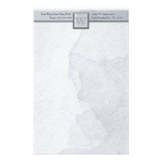 Marble Etched Monogram (Cool Gray) Stationery