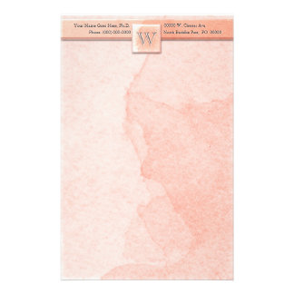 Marble Etched Monogram (Pink) Stationery