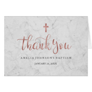 Marble Faux Rose Gold Baptism Thank You Card